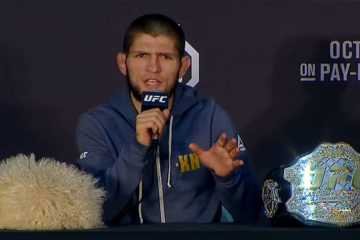 Khabib Nurmagomedov after win and brawl